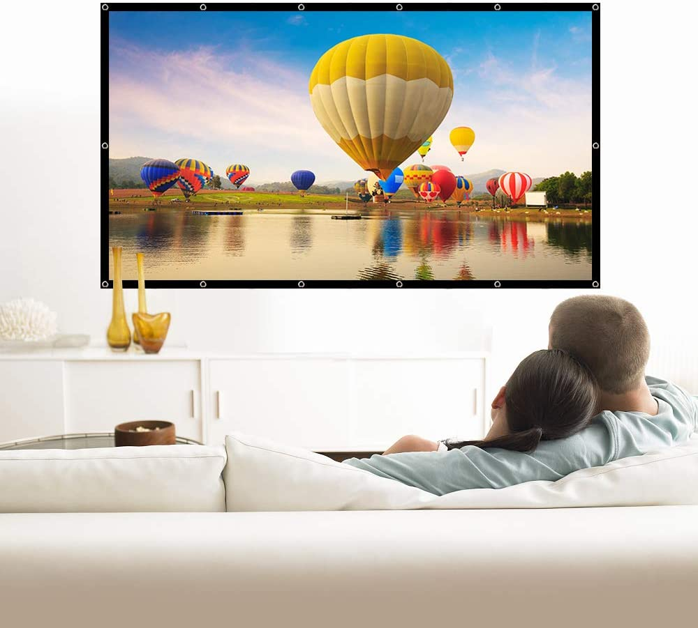 Nell Zimi Portable Video Screen Widescreen Foldable Anti-Crease Indoor Outdoor Projector Movies Screen for Home Theater Support Double Sided Projection 60 Inch 16:9 HD Projector Screen