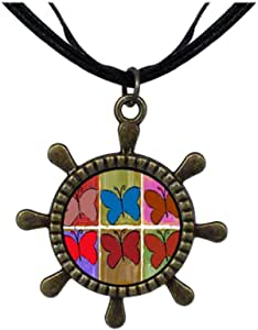 Chicforest Bronze Retro Style multi colorful butterfly Ship Steering Wheel Pendant