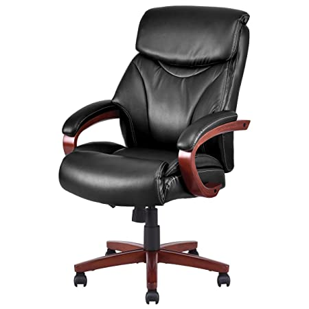Giantex Executive High Back Office Chair Deluxe PU PVC Leather Ergonomic Desk Task Computer Chair Black