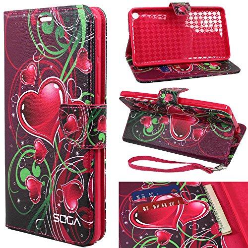 Studio 7.0 II Case, BLU Studio 7.0 II Wallet Case, SOGA [Pocketbook Series] PU Leather Magnetic Flip Design Wallet Case for BLU Studio 7.0 II (S480U) - Pink Love Heart - Blu Studio 7 Phone Case