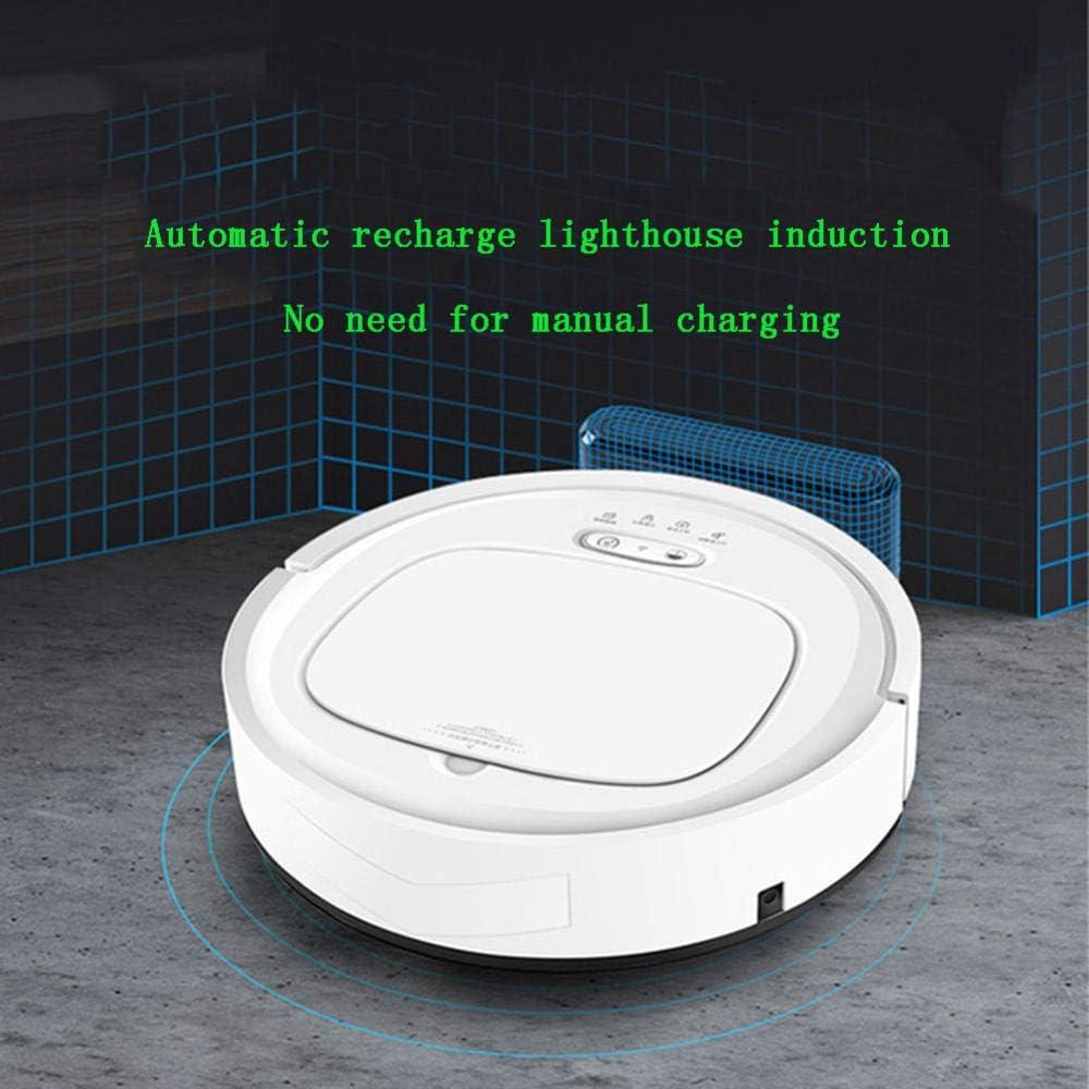 XJZKA Aspirateur Robot Intelligent 1500PA, aspirateur Rechargeable Automatique Ultra-Silencieux pour Tapis en Laine Moyenne pour Sol Dur en Poils d\'animaux-Blanc Noir