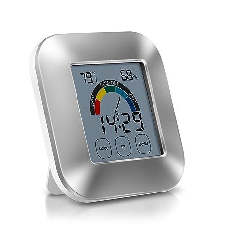 EVILTO Termómetro Higrometro Digital, Medidor de Humedad con LCD Táctil Colorida Patalla, Despertador Digital