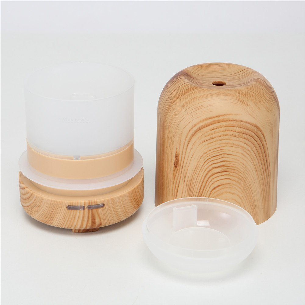 TRADE 100ML Ultrasonic Timer Settings and Waterless Auto Shut-off Protection Air Purification Spray Circle Column Shallow Wood Grain Humidifier,Suitable for Your Home and Office