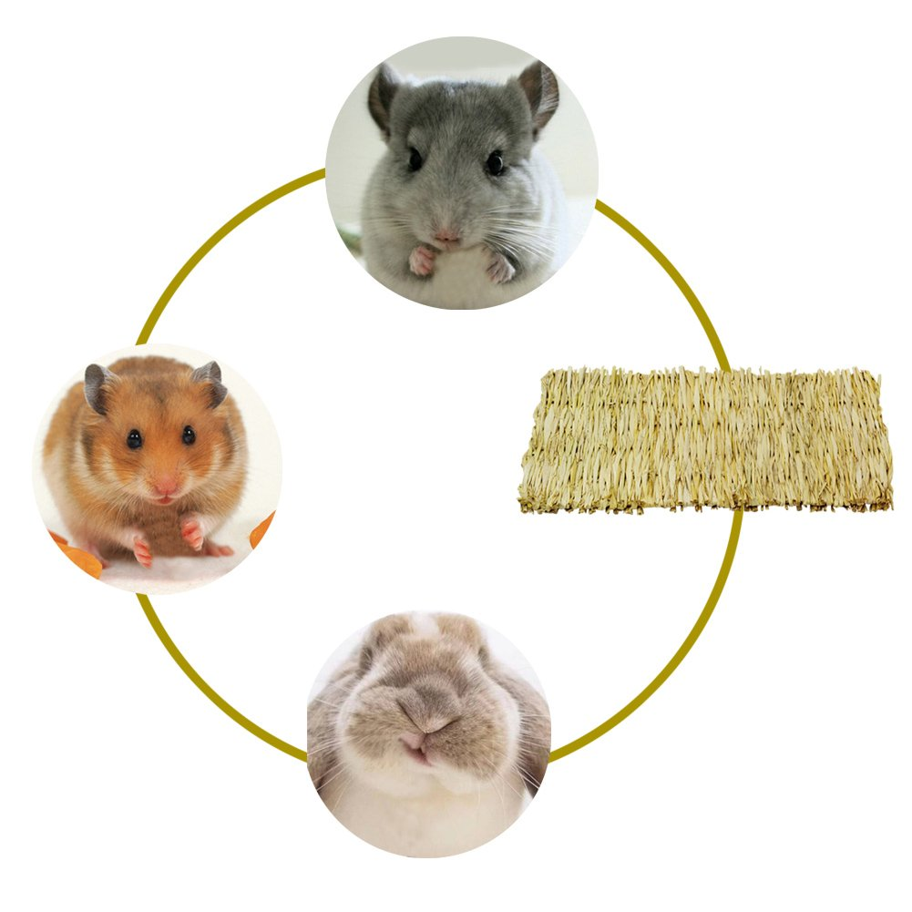 ULIGOTA Natural Woven Hay Mat for Rabbit Hamster Chinchilla Cage Bedding, Chew Toy for Guinea Pig Chinchilla Hamster - 3 Pack by ULIGOTA (Image #6)
