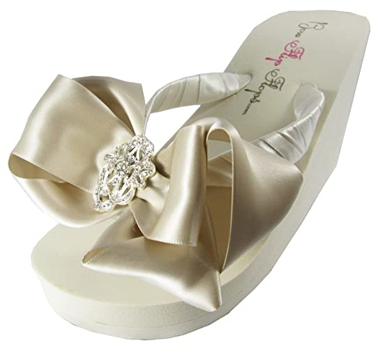 cd1b2930f4e4e Bridal Flip Flops Oatmeal Champagne Satin Bows Wedding Wedge Heel Sandals  Ivory Lace Rhinestone Platform