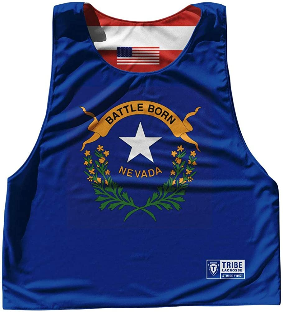 Nevada State Flag and American Flag Reversible Lacrosse Pinnie