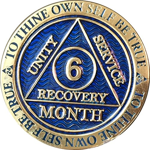 - 6 Month AA Medallion Reflex Blue Gold Plated Chip