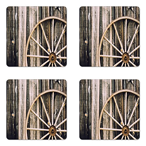 Ambesonne Barn Wood Wagon Wheel Coaster Set of Four, Wooden Barn Door and Vintage Rusty Wheel Rustic Home Farm, Square Hardboard Gloss Coasters for Drinks, Black Pale ()