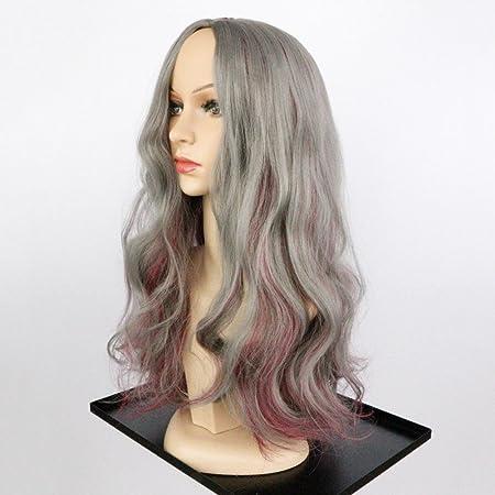 GAIHU Pelucas largas gris para mujer Natural rizado Ondulado raya al lado del color de mezcla sintética cabello resistente al calor con tapa pelucas: ...