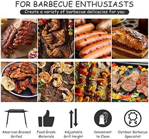 DNNAL Barbecue au Charbon Portable, BBQ Ménage Barbecue avec Gridiron antiadhésifs, Party Patio Hôtel Villa Backyard Camping