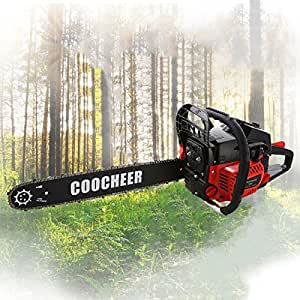 Coocheer 52CC 2 Strokes Gas Powered Chainsaw, Handheld Gas Chainsaw 20 Inch with Carry Bag