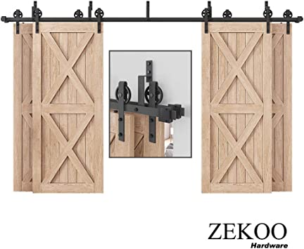 Amazon Com Zekoo Rustic 10 16 Ft Bypass 4 Doors Barn Door Hardware Sliding Black Steel Big Wheel Roller Track 16 Ft Bypass 4 Doors Hardware Kit Home Improvement