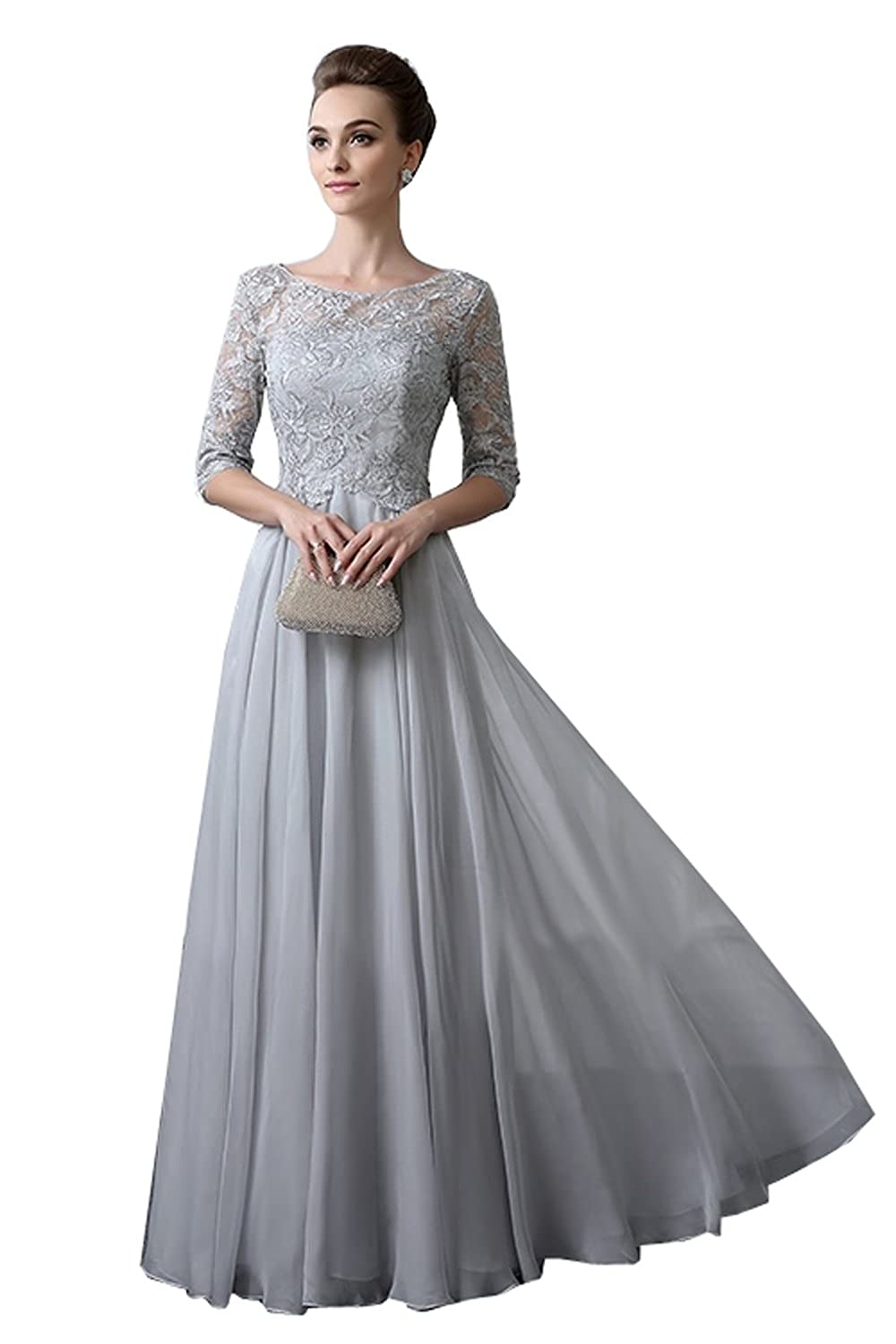Kelaixiang Light Grey Womens Mother of The Groom Dresses Full Length Half Sleeves