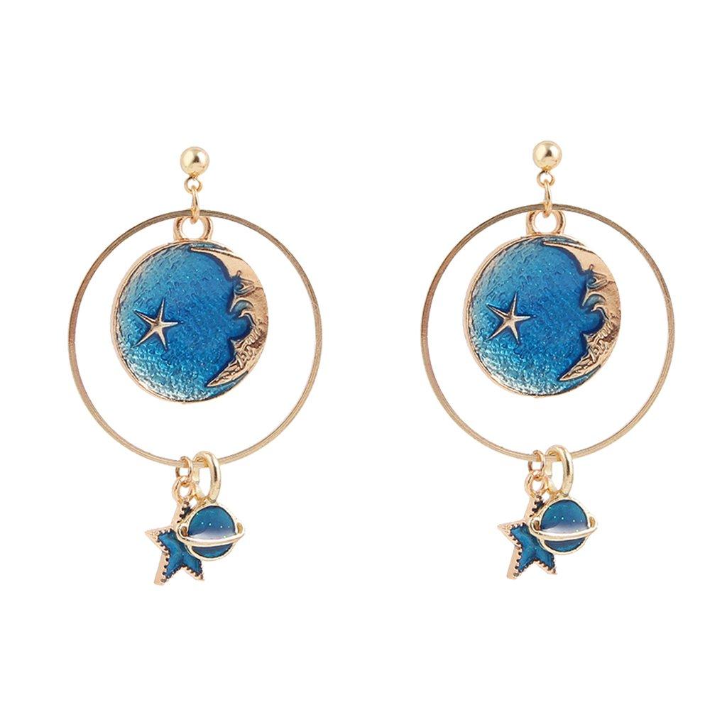 Baoblaze Dainty Women Stud Earrings Moon Star Planet Earrings Asymmetrical Jewelry