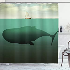 """Ambesonne Fantasy Shower Curtain, Surreal Giant Whale in The Middle of Sea and Little Sailboat on The Surface Print, Cloth Fabric Bathroom Decor Set with Hooks, 75"""" Long, Green Beige"""
