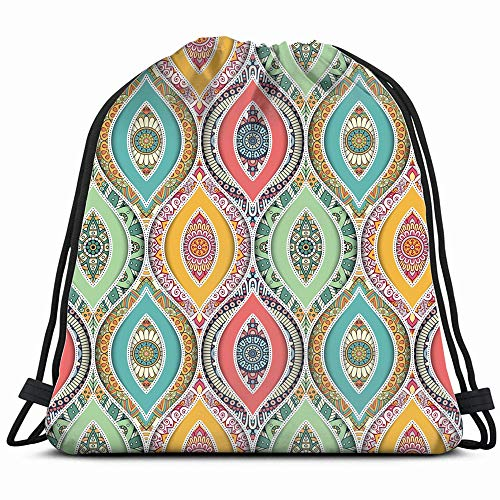 Tile Vintage Decorative Elements Abstract Drawstring Backpack Gym Sack Lightweight Bag Water Resistant Gym Backpack For Women&Men For Sports,Travelling,Hiking,Camping,Shopping ()
