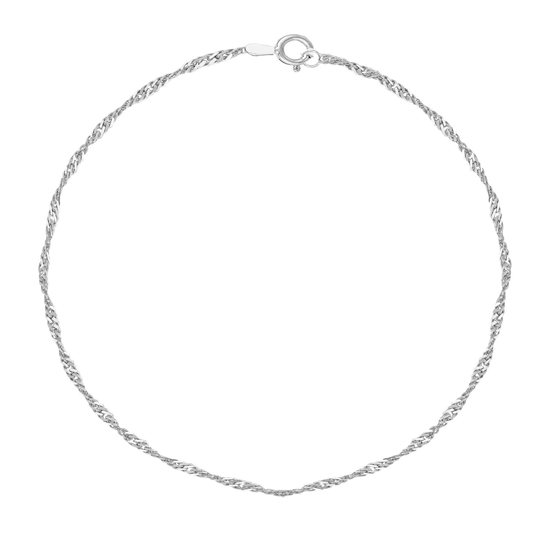 .925 Sterling Silver Singapore Shiny Sparkle Anklet Ankle Bracelet 10