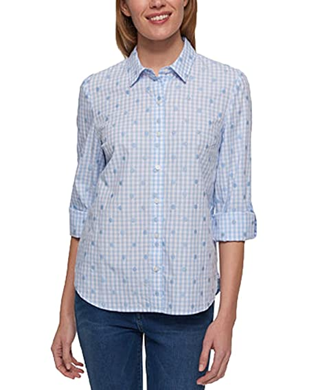 16b4be31 Tommy Hilfiger Gingham-Print Roll-Tab-Sleeve Shirt (Light Carnation, S) at Amazon  Women's Clothing store: