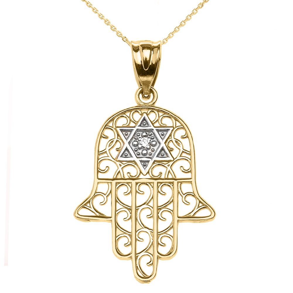Jewish Jewelry by FDJ 14k Yellow Gold Hamsa Hand with Star of David Diamond Centered Pendant Necklace