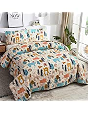 Kids Boys Bear Quilt Set Twin Size Cartoon Animal Bedspread Coverlet Cute Moose Deer Quilt Colorful Tree Bedding Set Yellow Blue Bed Set for Kids Teens Girls with 2 Shams
