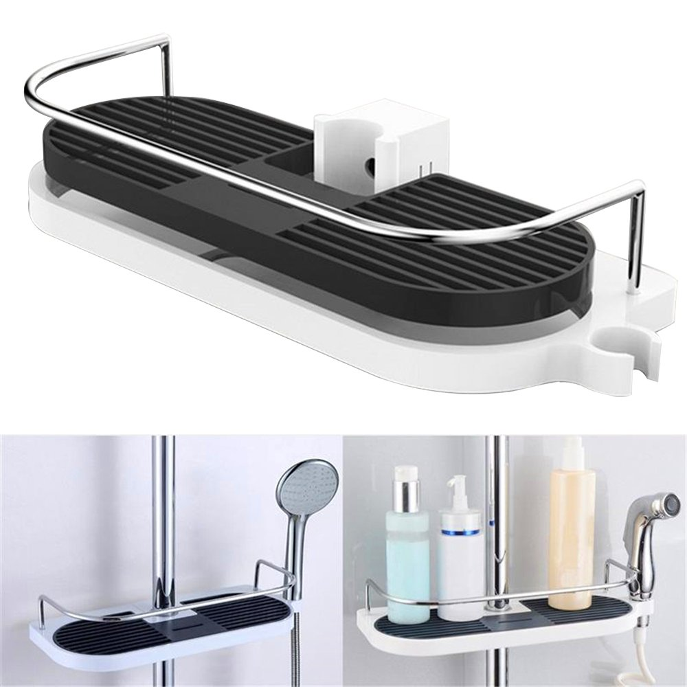 AENMIL Bathroom Shower Caddy Shower Bar Shelf with Buckle Storage Combo Organizer,No Drilling Rustproof Shower Tray Basket for Bathroom Accessories