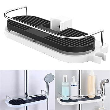 Duschablage Ablage Badezimmerablagen Dusche Ablage Ohne Bohren Badezimmer  Duschkorb,Duschstangen Ablage ABS Wandmontierte Bad Dusche