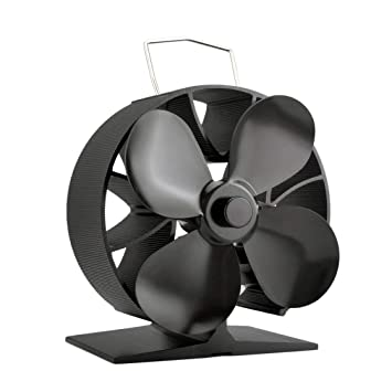 Laurelmartina Alrededor de 4 aspas Ventilador de Estufa accionado por Calor Ventilador de Estufa de Aluminio sólido Que Ahorra Combustible Ventilador de ...
