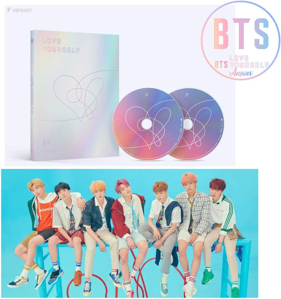 BTS Love Yourself Answer (F Version) Bangtan Boys Album 2CDs+Poster+Photobook+Mini Book+Photocard+Sticker Pack+Gift (Extra 6 Photocards Set)