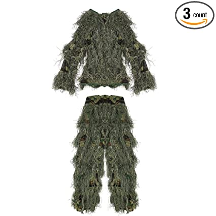 75b6d228f2b3 Pellor Children 3D Camouflage Clothing Ghillie Suit for Outdoor Jungle  Woodland Hunting Bird Watching CS (
