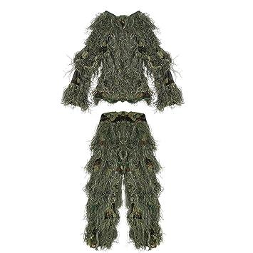 Pellor Uniforme de Camuflaje, 3D Jungle Ghillie Suit Ropa de ...
