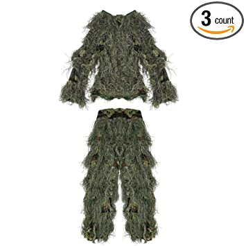CHILDREN BOYS GHILLIE SUIT COSPLAY GAMES WOODLAND CAMO JACKET COAT TROUSERS