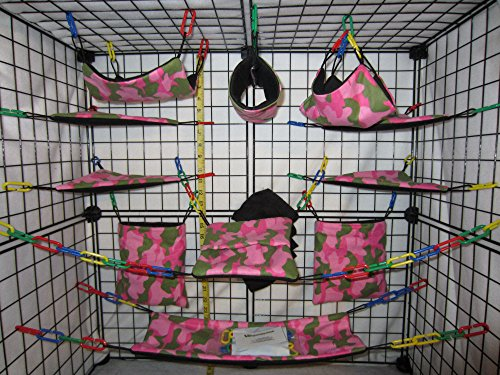 17 Piece Sugar Glider Cage Set 'Pink Camo' Pattern (Sugar Glider Bedding)