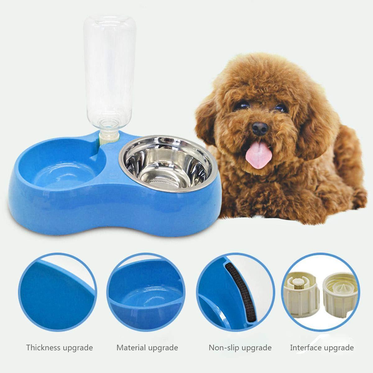 cuencos dobles para mascotas, cuenco de acero inoxidable desmontable para perro o gato,cuenco de agua para comida para mascotas, alimentador automático de ...