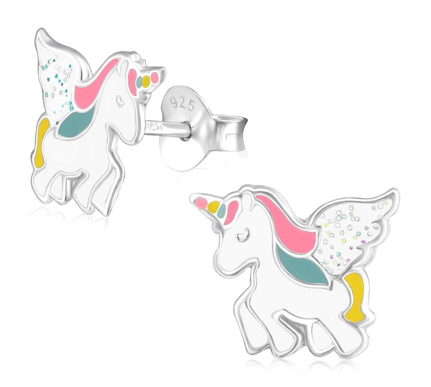 Laimons M/ädchen Kinder-Ohrstecker Kinderschmuck Einhorn pink,wei/ß Bunt glitzer Sterling Silber 925