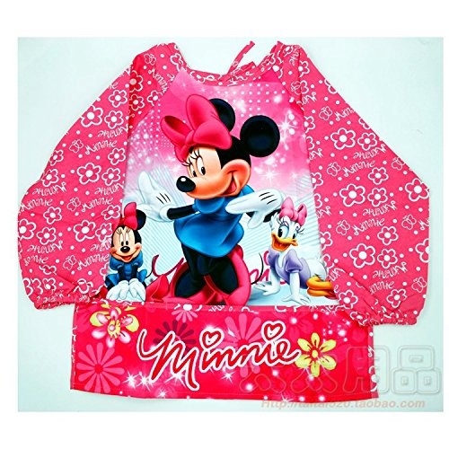 CJB Minnie Mouse Blue Water Resistant Kids School Art Paint Smock Bib Apron with Sleeves - M/ 2-4 Years Old (US Seller)