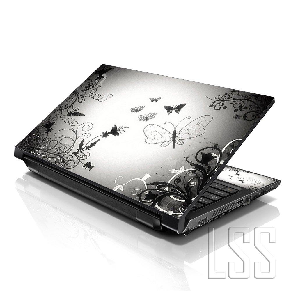 Free 2/Wrist Pad enthalten LSS 17/43,9/cm Laptop Notebook Haut Aufkleber Cover Art Aufkleber passt 41,9/cm 43,2/cm 43,9/cm 46,7/cm 48,3/cm HP Dell Apple Asus Acer Lenovo Asus Compaq Schmetterling Kontrast verblasse