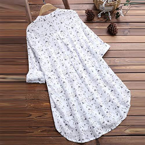 Tops 1 Camiseta De Larga Manga Encaje Mujer Sólido Gran Mujer Tamaño Para Algodón Womens Color O neck Lino Patchwork Camiseta Bazhahei Corta White Blusa Y La q7Fx4