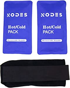 NODES Ice Pack (2-Piece Set) - Hot and Cold Gel Pack Reusable Microwavable - Injuries, Supports Recovery, Joint Pain, Muslce Pain, Reusable, Gel Pads - Rotator Cuff, Knees, Back