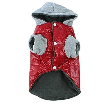 BOZEVON Invierno Impermeable Grueso Abrigo Chaqueta con Capucha Traje para La Nieve para Esquiar Abrigos Ropa para Los Pequenos Perros Medianos (Rojo, ...