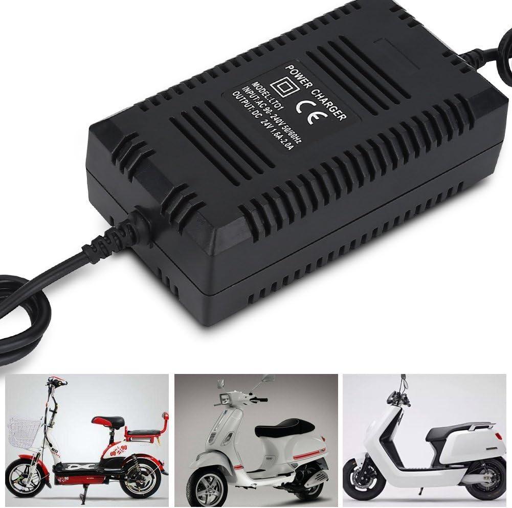2.0A Scooter Power Charger Robustes Ladeger/ät f/ür E-Bikes mit EU-Stecker Fafeims 24V 1.6A