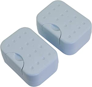 IZTOSS 2 Sets Soap Case Holder Container Box Dishes Home Outdoor Hiking Camping Travel-Blue