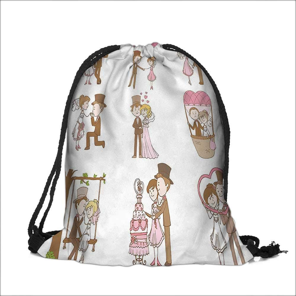 Travel Drawstring Closure Bag Wedding Doodle Set Bride and Groom RomanticStyle Artwok Brown Pink White Gift Bag Pouches 14''W x 17.5''H