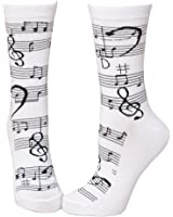 Soft and Comfortable Music Notes Trouser Socks in White by Foot Traffic  - women's shoe size 4-10