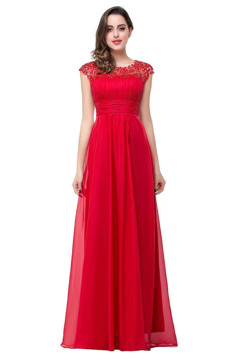 Q Best Christmas Gift~ Big Promotion For Christmas Day! Long Chiffon Lace Open Back A-Line Beaded Capped-Sleeves Party Dresses (4, Red)