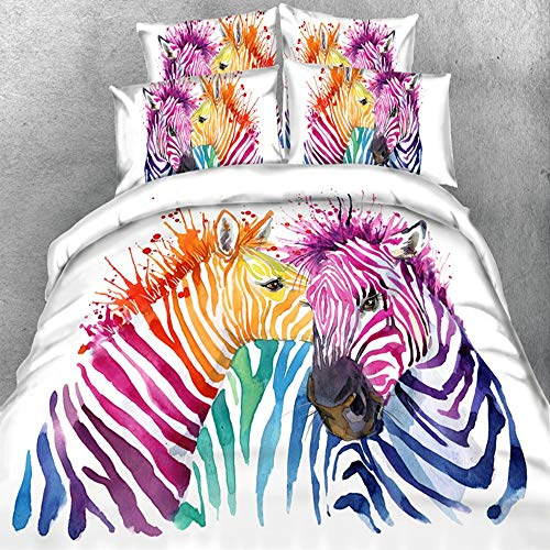 jardim de rosas 3 Piece Duvet Cover Set, 100% Polyester, 3D Vivid Patterns Lightweight and Soft for Young - Twin Size - Colorful Zebra (Twin Zebra Duvet Cover)