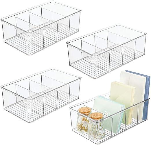 mDesign Juego de 4 organizadores de escritorio – Cajas de plástico con 4 compartimentos cada una para utensilios de dibujo, sobres, tijeras, etc. – Ideales organizadores de bolígrafos – transparente: Amazon.es: Hogar