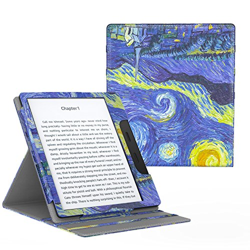 MoKo Case for All-New Kindle Oasis (9th Generation, 2017 Release ONLY) - Multi Angle Viewing Vertical Flip Cover with Auto Wake/Sleep for Amazon 7 Kindle Oasis E-Reader Case, Starry Night