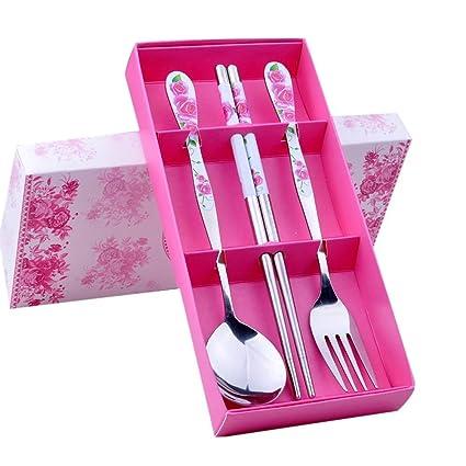 TININNA uego cubertería infantil 3 piezas con esmalte, en acero inoxidable Rosas rosadas