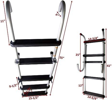 Pactrade - Escalera Plegable extraíble de 5 peldaños de Aluminio anodizado para Barco: Amazon.es: Deportes y aire libre