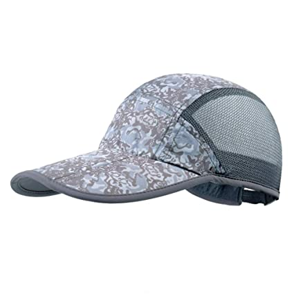 6b5c45fc4 GADIEMKENSD Breathable Quick Dry Camo Hat with Folding Brim for Running  Fishing